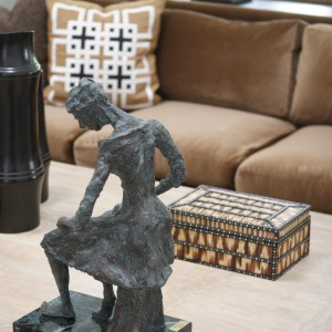 statue on a table of a luxury home