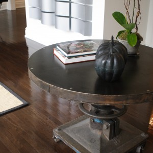 wooden table in home
